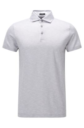 Slim-fit polo shirt in linen-look cotton jacquard, Open Grey