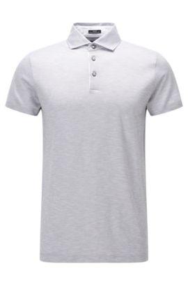 Slim-Fit Poloshirt aus Baumwoll-Jacquard in Leinen-Optik, Hellgrau