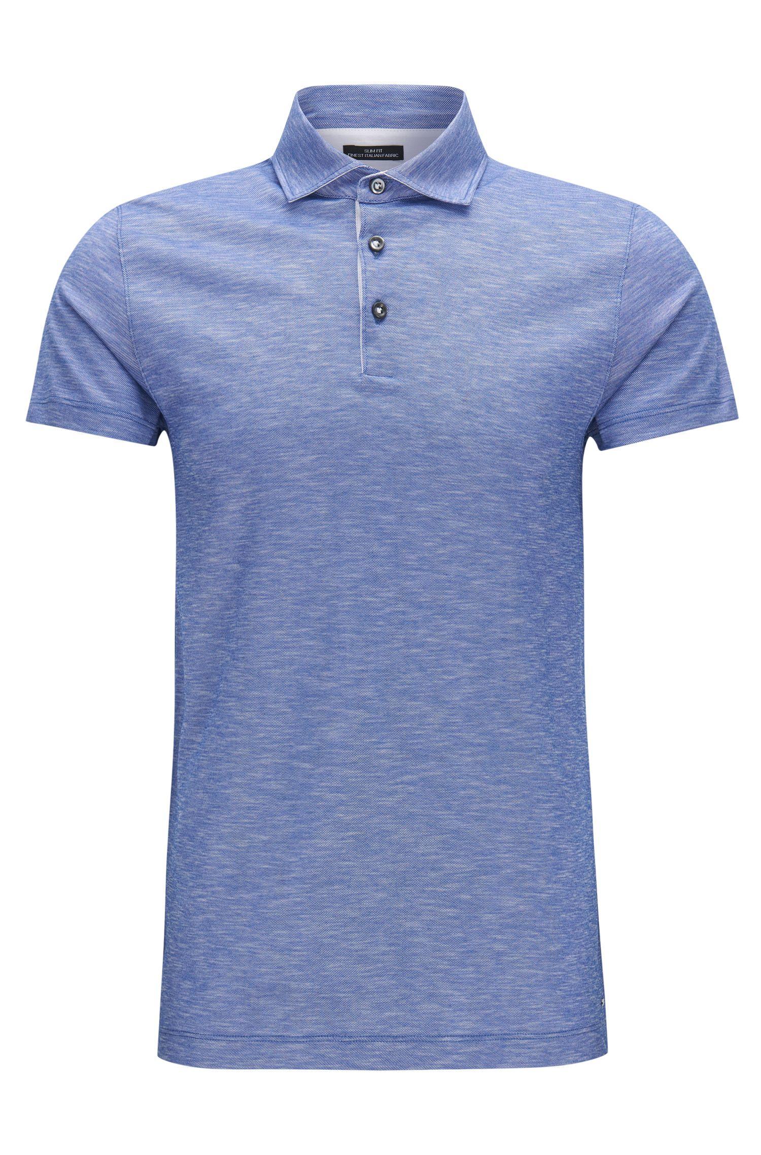 Slim-Fit Poloshirt aus Baumwoll-Jacquard in Leinen-Optik