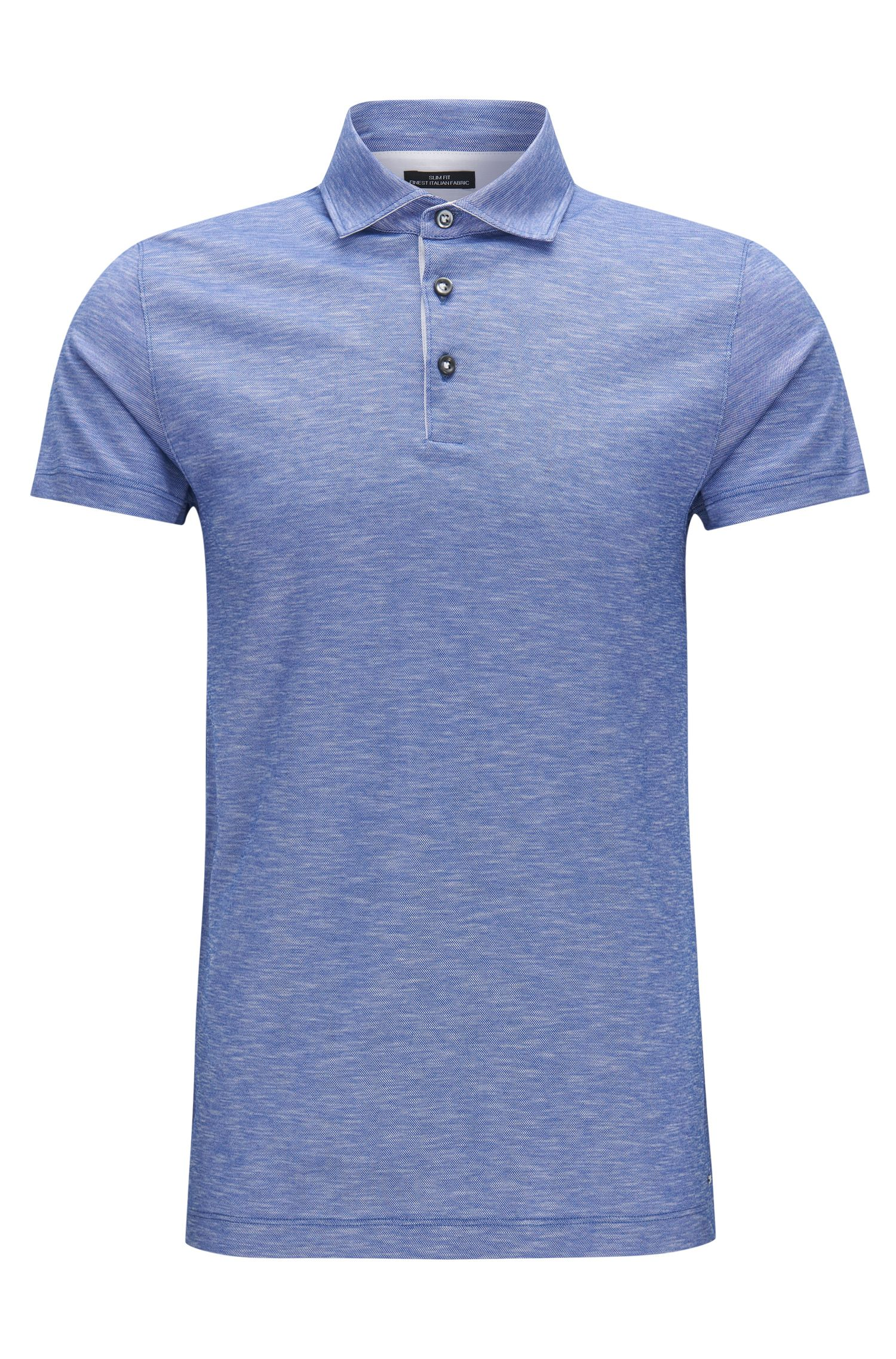 Slim-fit polo shirt in linen-look cotton jacquard