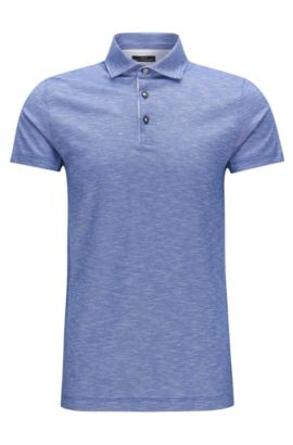 Slim-fit polo shirt in linen-look cotton jacquard, Blue