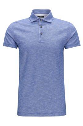 Slim-Fit Poloshirt aus Baumwoll-Jacquard in Leinen-Optik, Blau