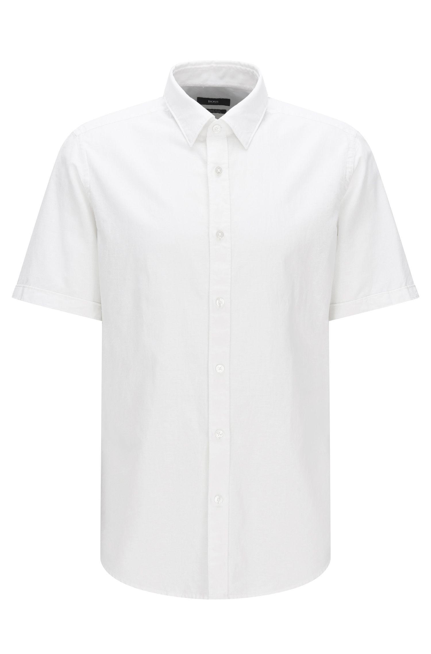Camisa regular fit de manga corta de algodón mezclado con lino