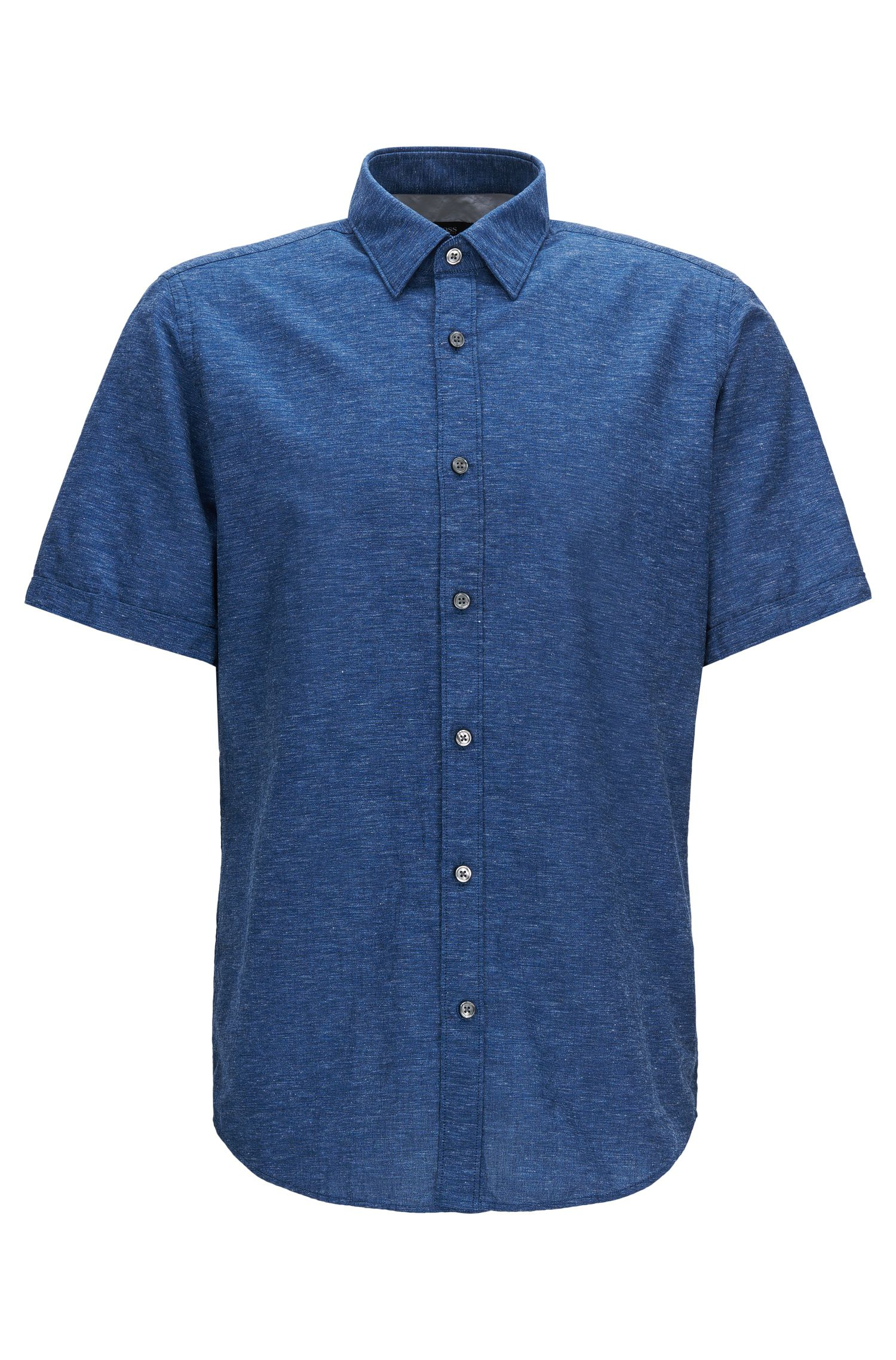 Regular-fit short-sleeved cotton shirt blended with linen