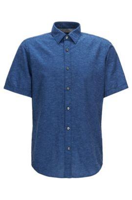 Regular-Fit Kurzarm-Hemd aus Baumwolle und Leinen, Dunkelblau