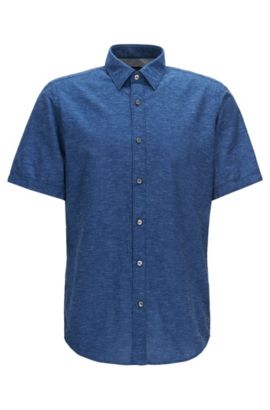 Regular-fit short-sleeved cotton shirt blended with linen, Dark Blue