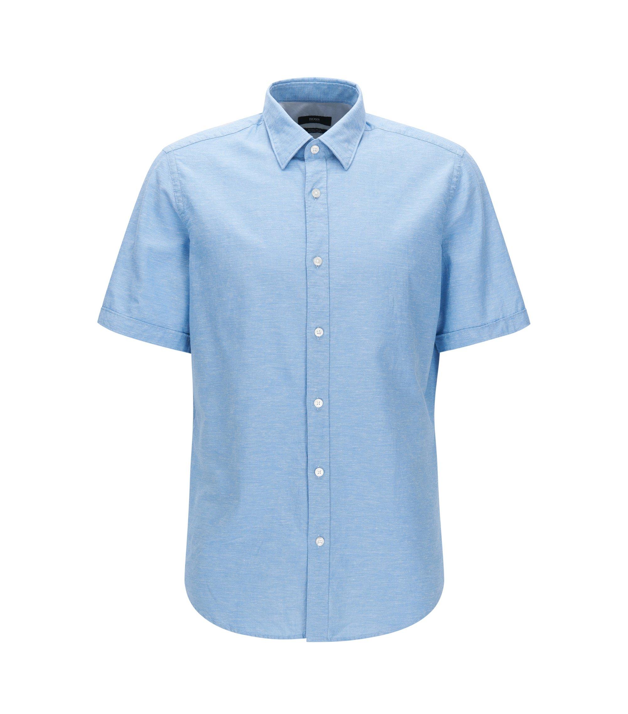 Regular-fit short-sleeved cotton shirt blended with linen, Dark Blue
