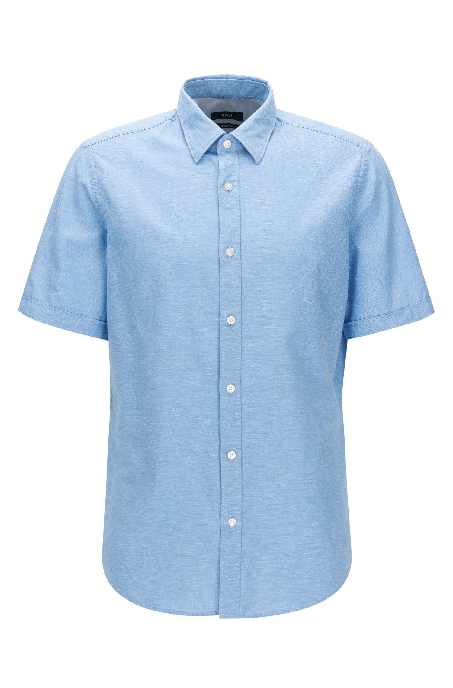 Regular-fit short-sleeved cotton shirt blended with linen