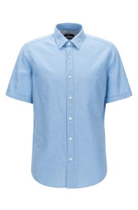 Regular-fit overhemd met korte mouwen, van een mix van katoen met linnen, Donkerblauw