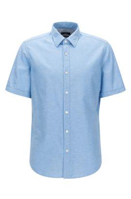 Chemise Regular Fit à manches courtes en coton mélangé à du lin, Bleu foncé