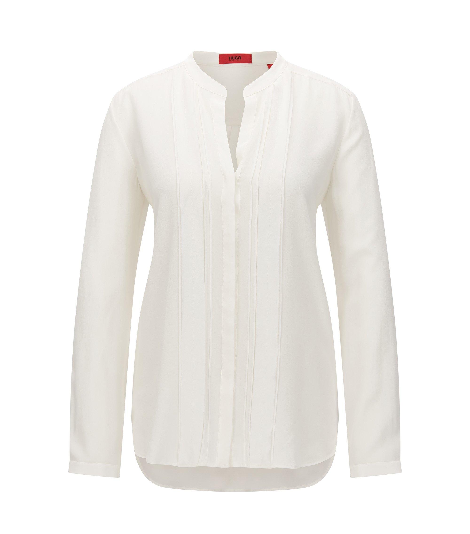 Relaxed-fit zijden blouse met een detail van chiffon, Naturel