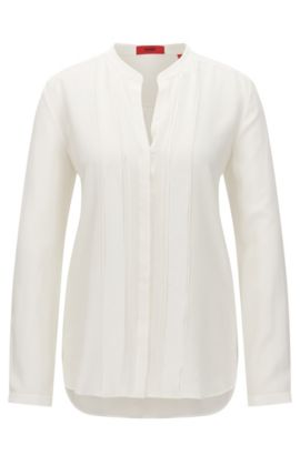 Relaxed-fit silk blouse with chiffon detail, Natural