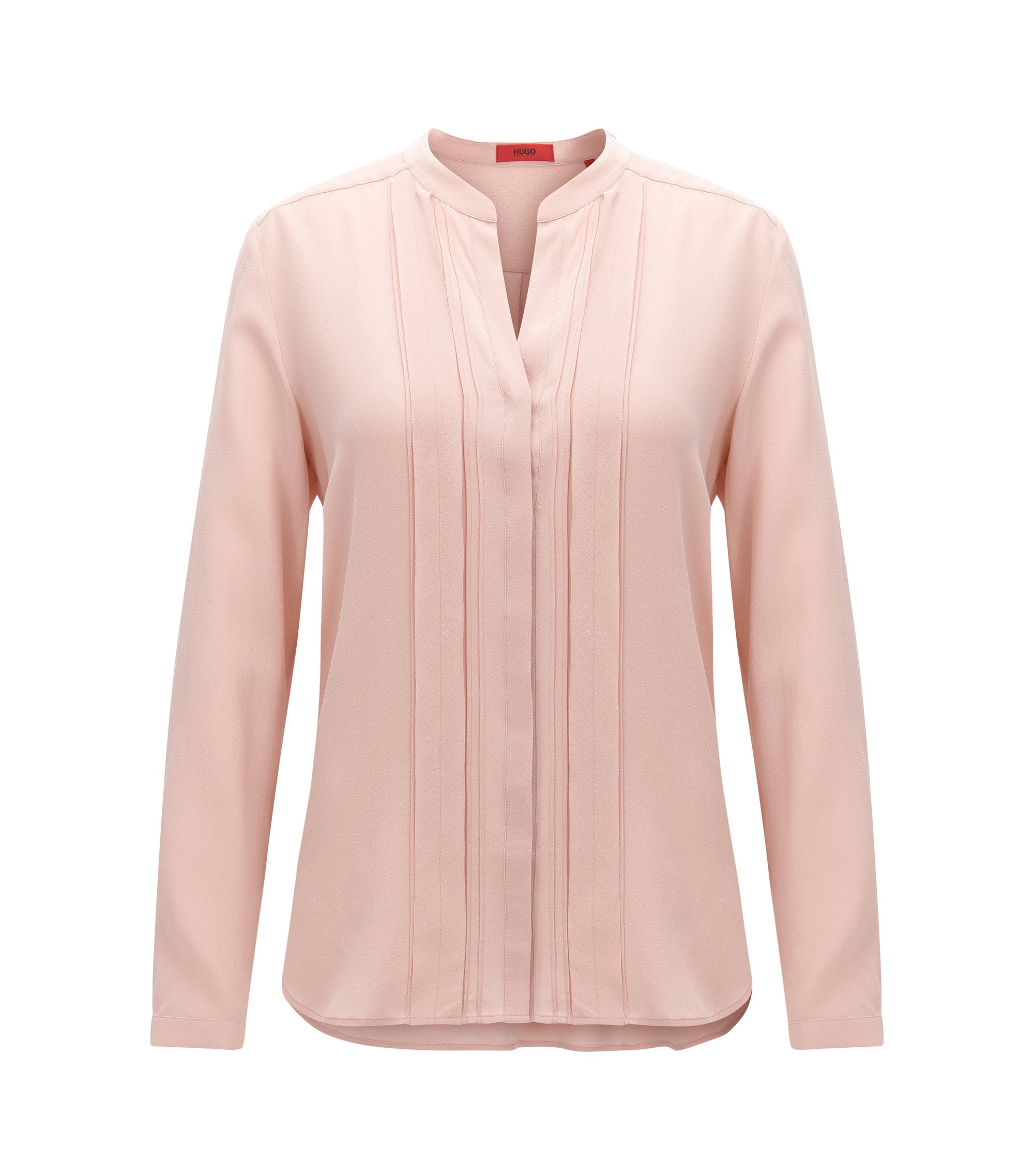 Relaxed-Fit Seiden-Bluse mit Chiffon-Detail, Hellrosa