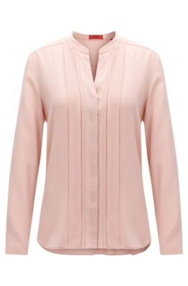 Relaxed-fit silk blouse with chiffon detail, light pink