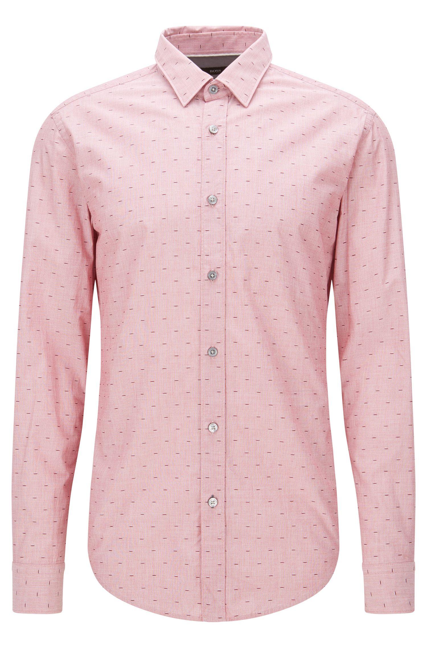 Camicia slim fit dobby in cotone con fil coupé