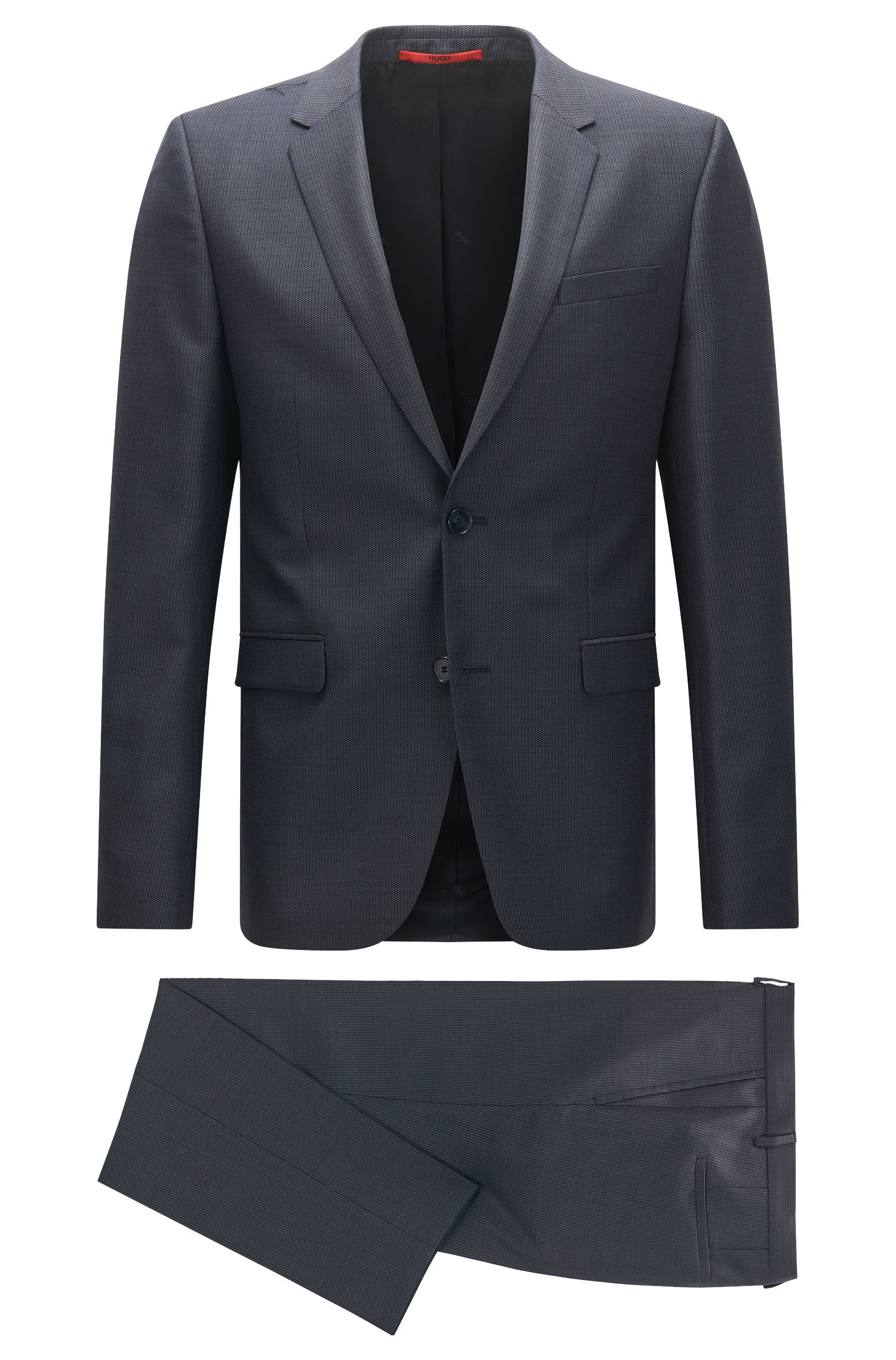 Slim-fit inwrought suit in virgin wool