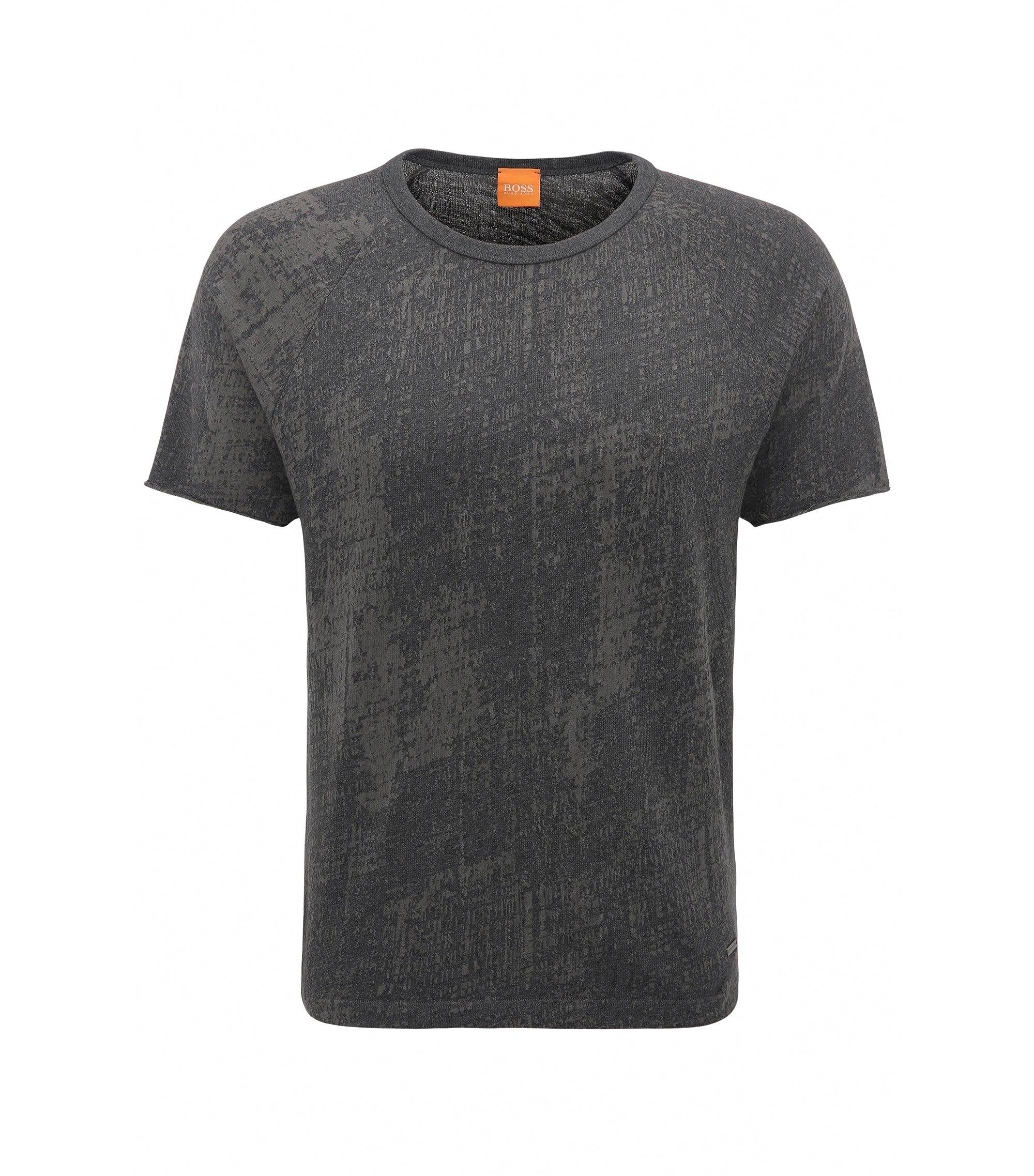 Relaxed-fit T-shirt van jacquardkatoen, Zwart