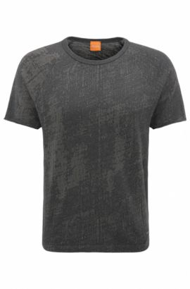 T-shirt relaxed fit in cotone jacquard, Nero