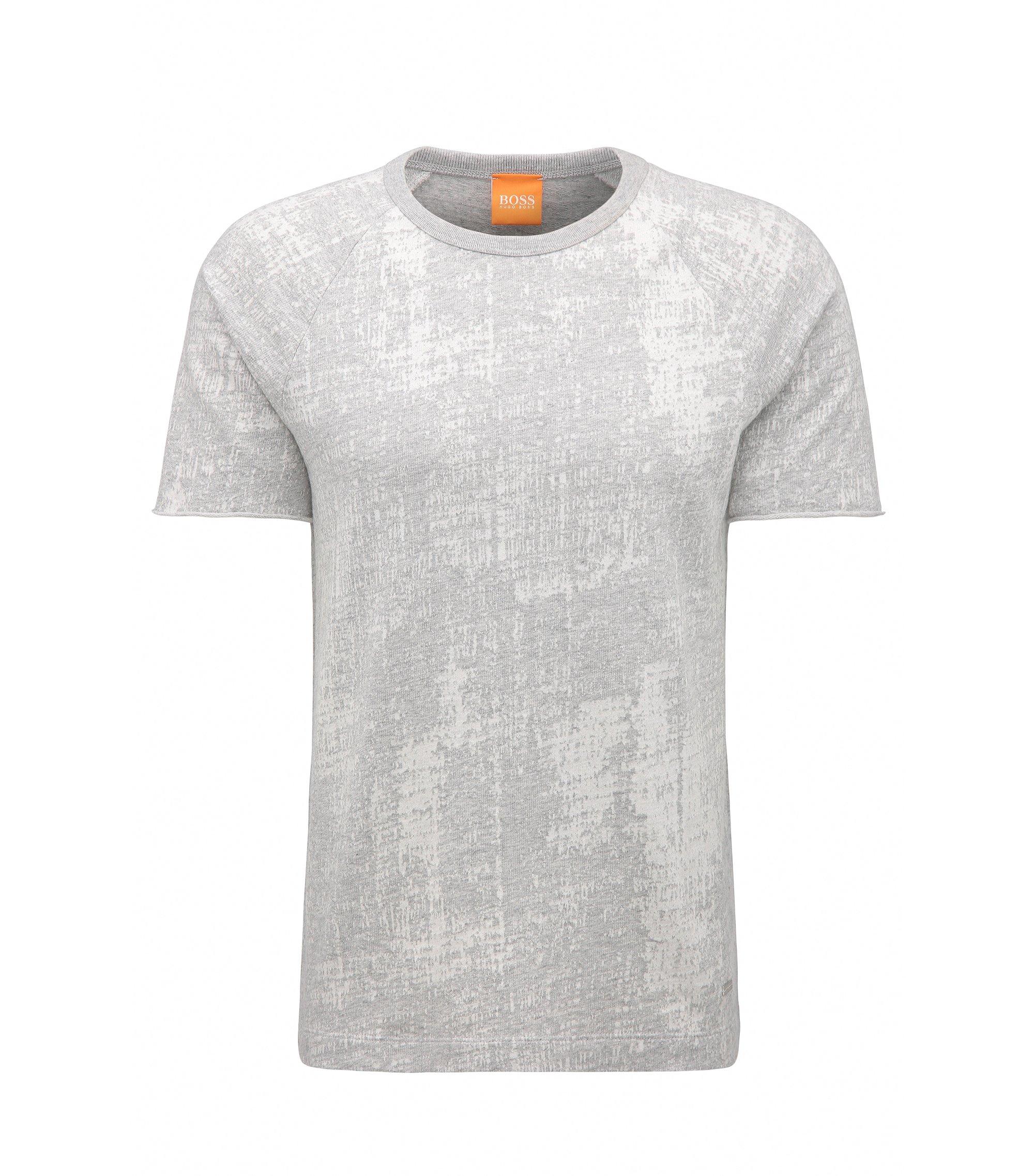 Relaxed-Fit T-Shirt aus Baumwoll-Jacquard, Hellgrau