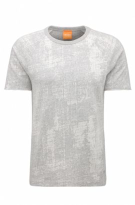T-shirt relaxed fit in cotone jacquard, Grigio chiaro
