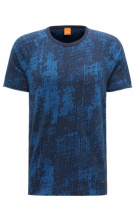 T-shirt relaxed fit in cotone jacquard, Blu scuro
