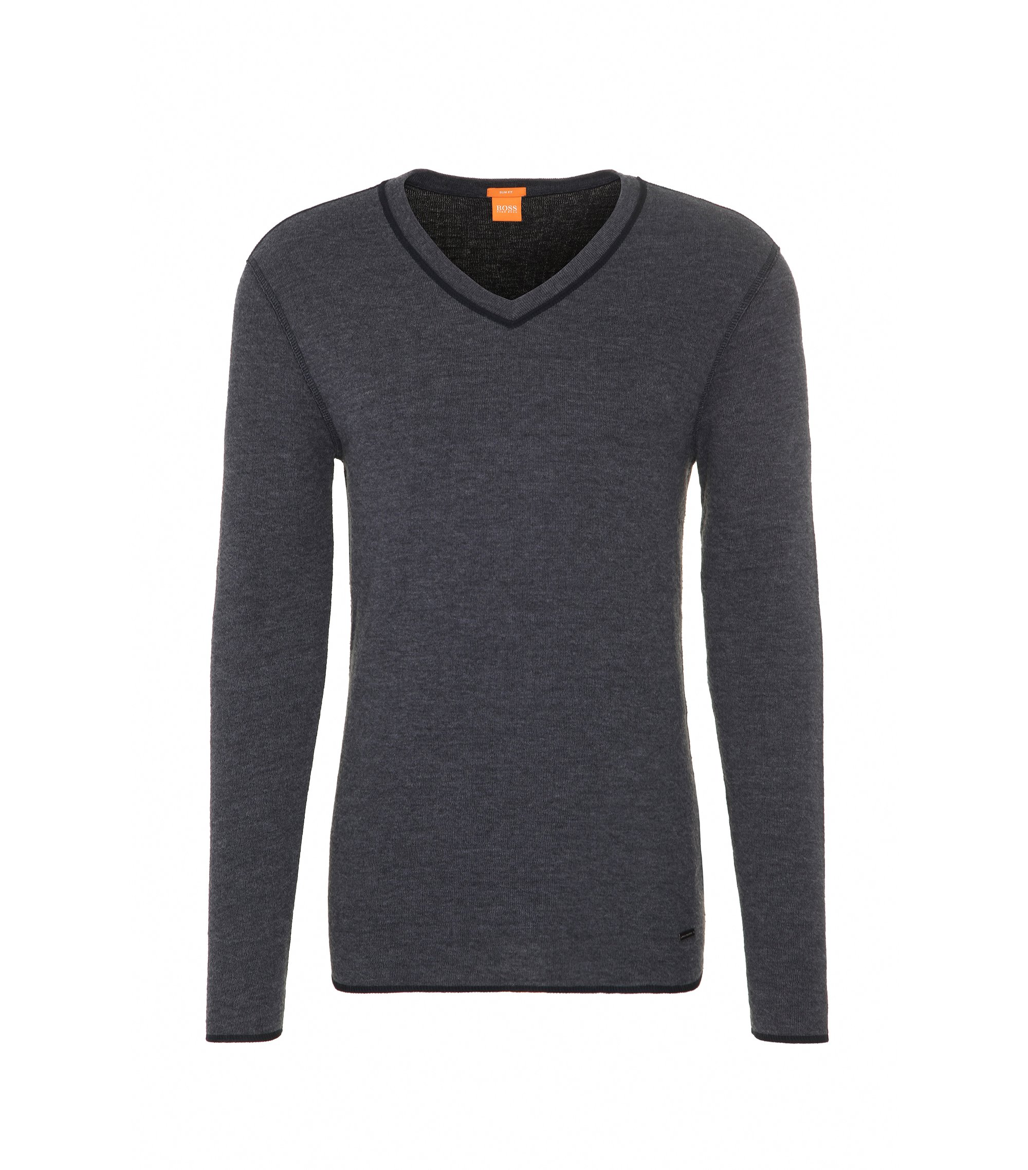 Slim-fit sweatshirt in double-faced cotton-blend jersey, Black