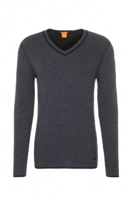 Felpa slim fit double-face in jersey di misto cotone, Nero