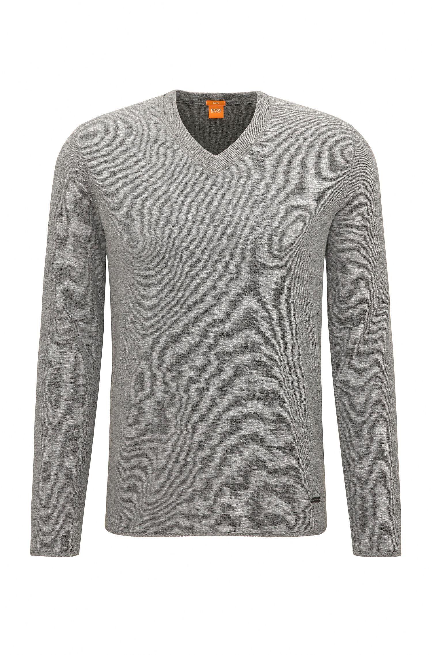 Slim-Fit Sweatshirt aus zweiseitigem Baumwoll-Mix