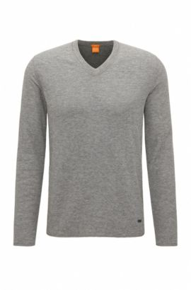 Sweat Slim Fit en jersey de coton mélangé double face, Gris chiné