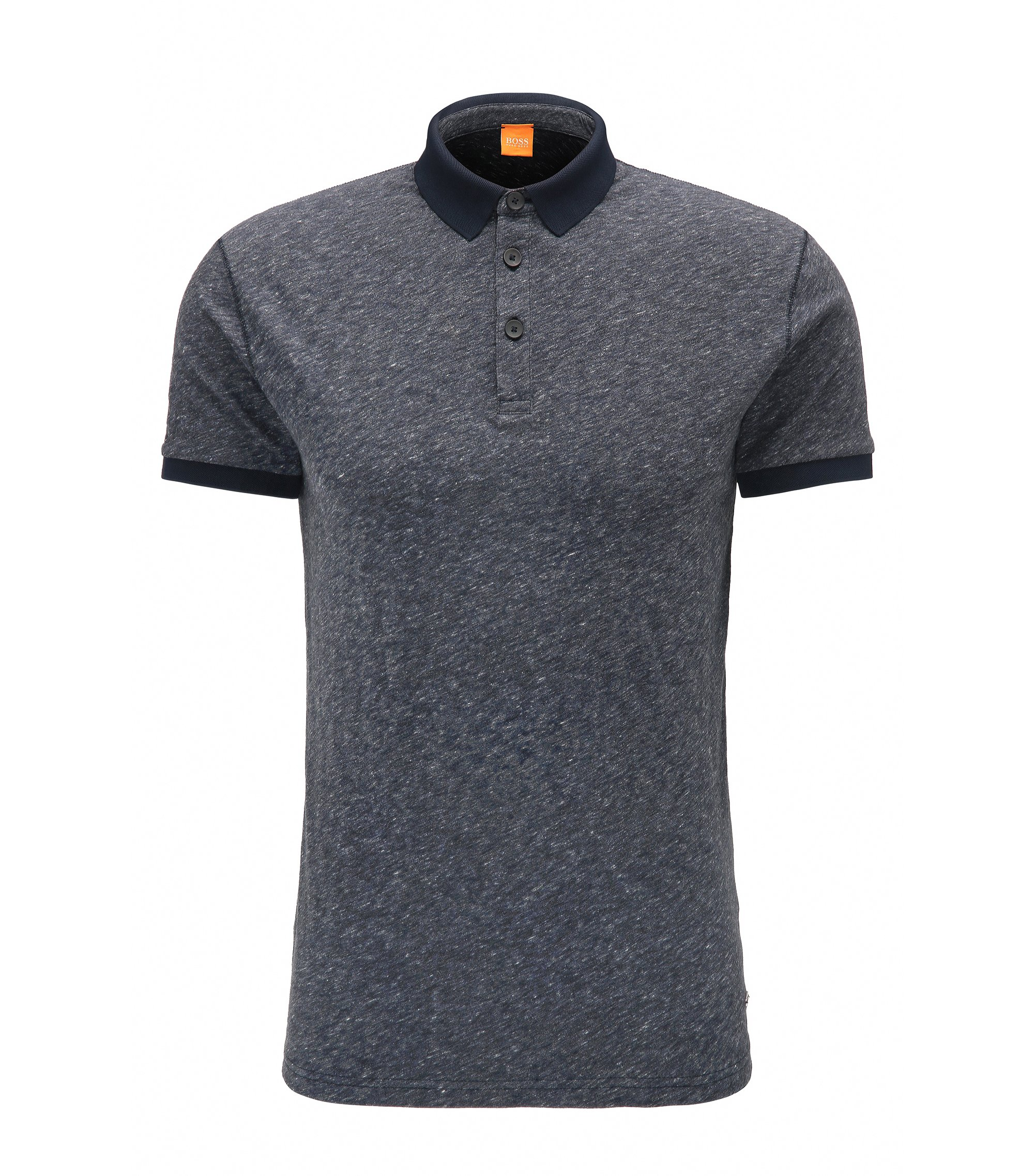 Regular-fit polo shirt in heathered cotton, Dark Blue