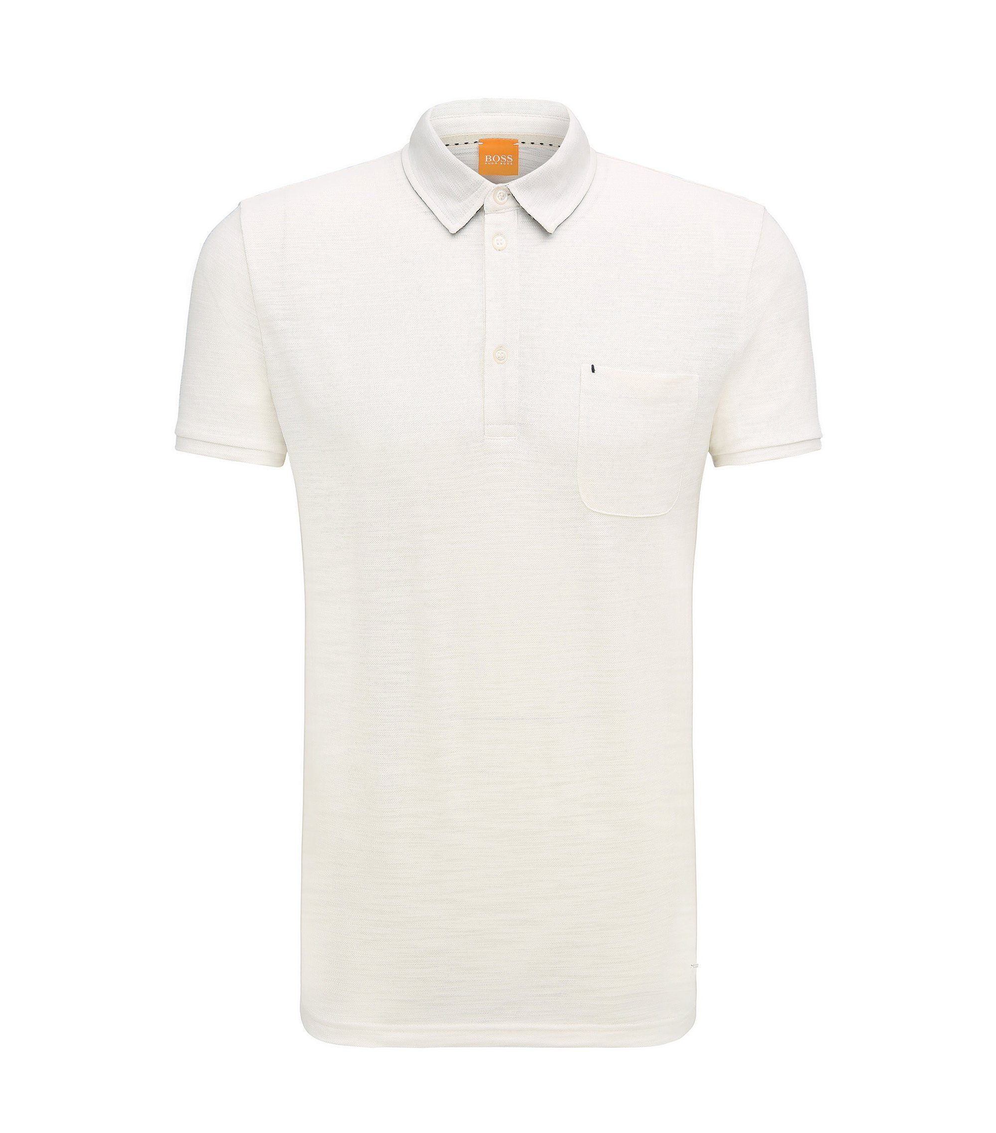 Relaxed-fit poloshirt van single jersey met slubgaren, Naturel