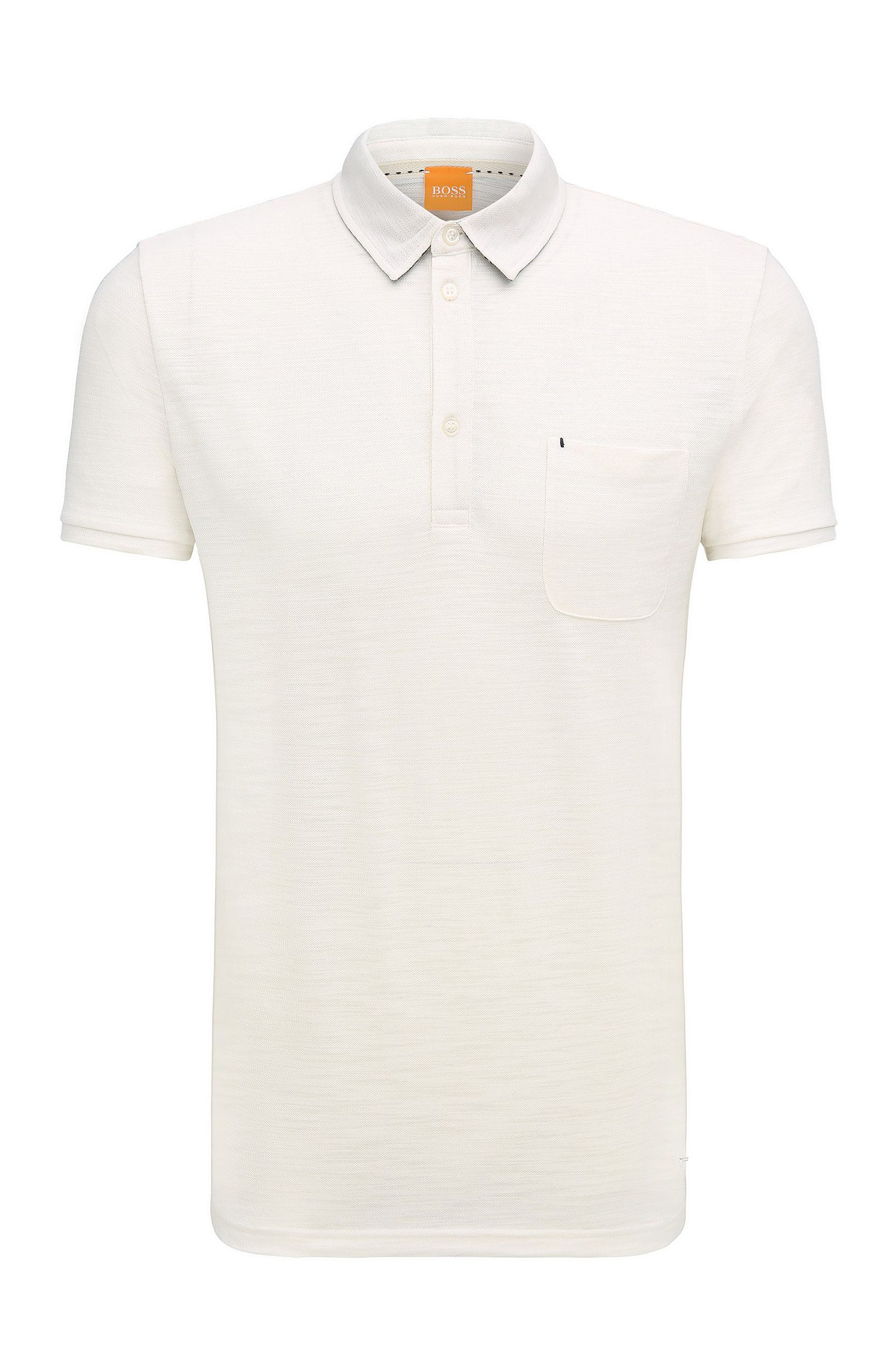 Relaxed-fit poloshirt van single jersey met slubgaren