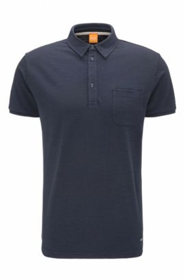 Relaxed-fit polo shirt in slub single jersey, Dark Blue