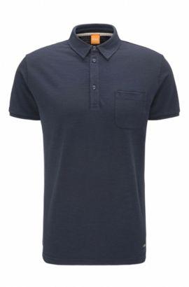 Polo Relaxed Fit en jersey single effet flammé, Bleu foncé