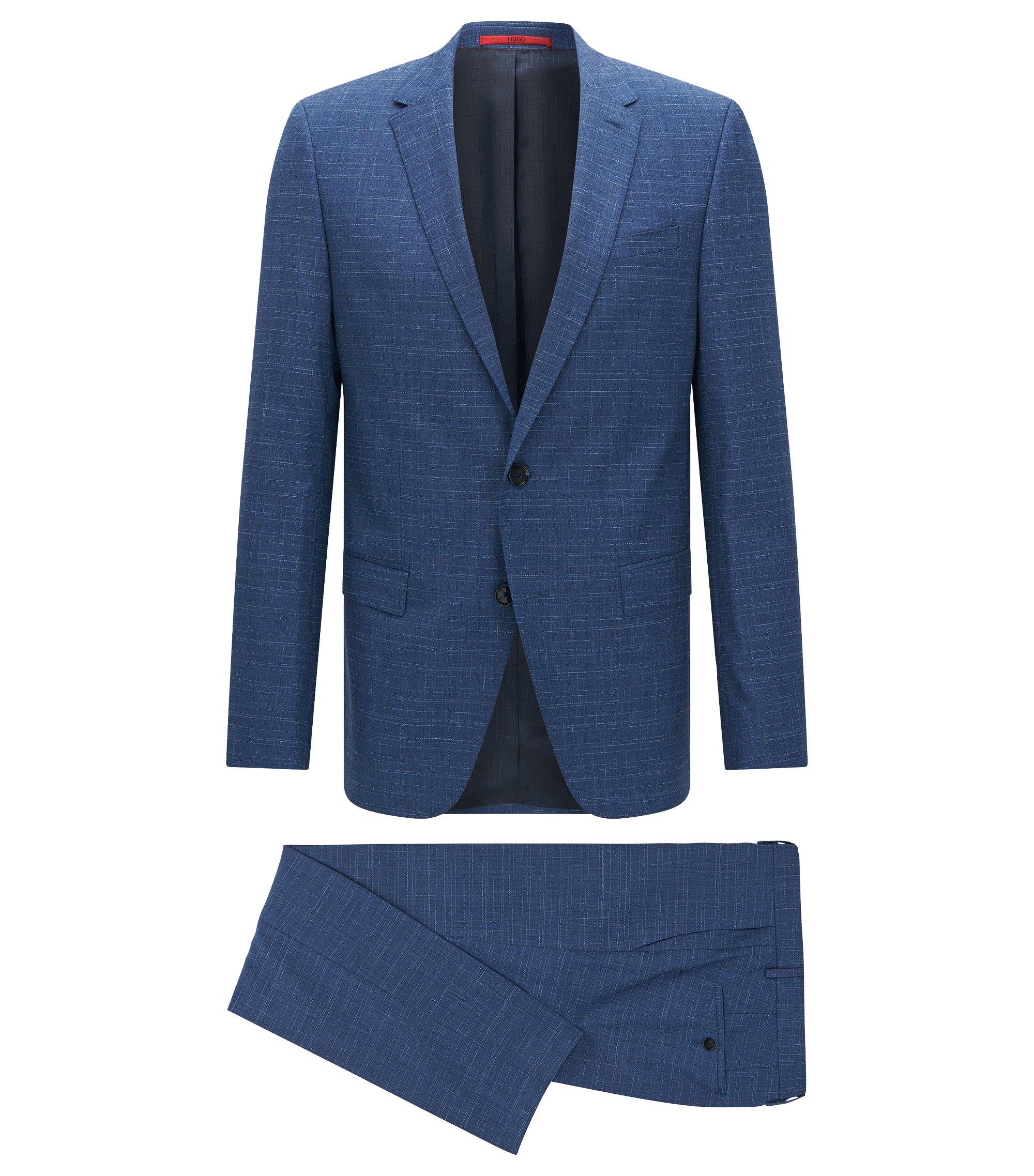 Traje slim fit a rayas con textura en lana virgen, Azul