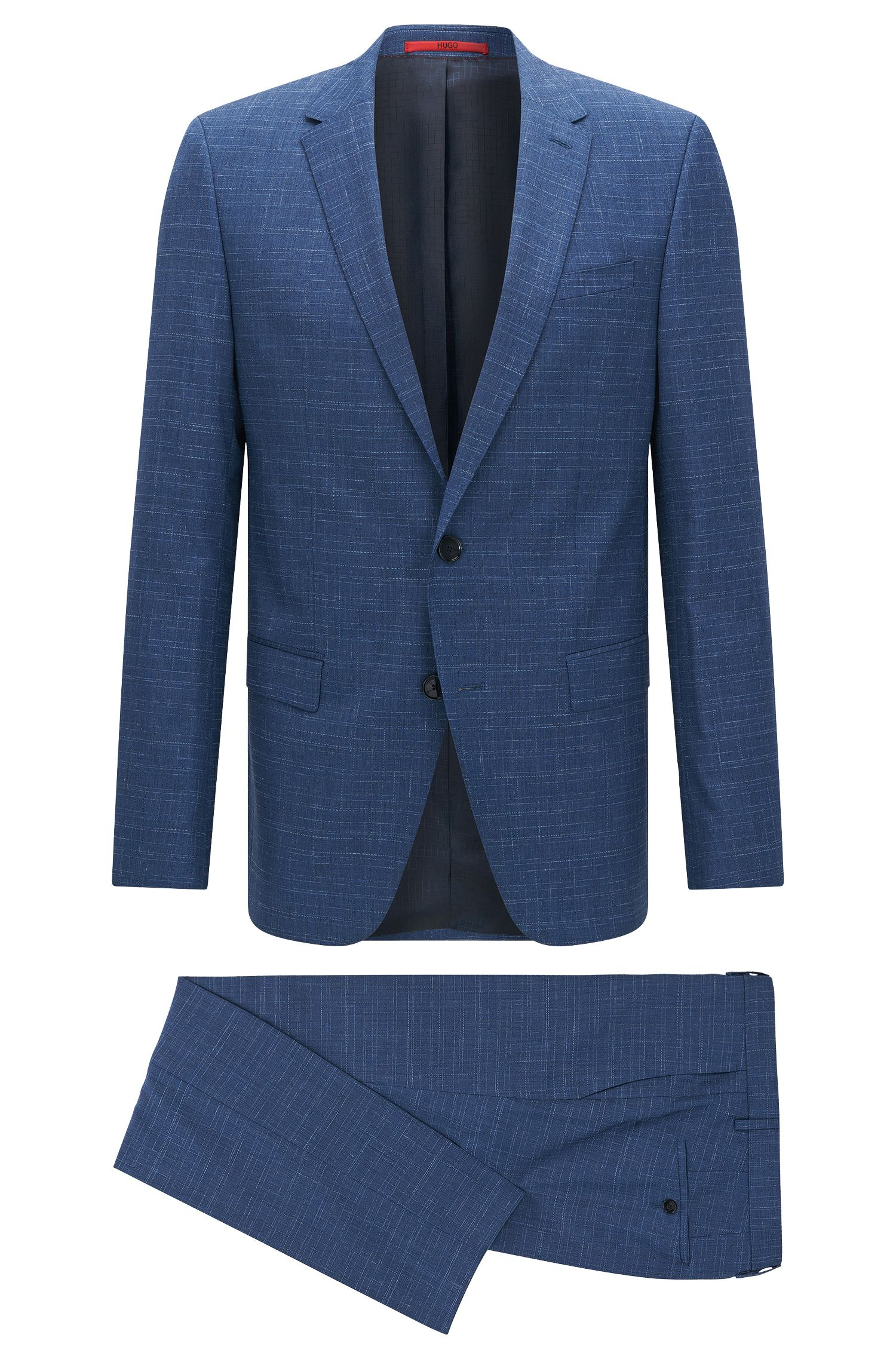 Slim-fit suit in structured-stripe virgin wool