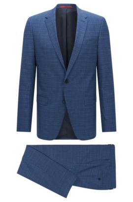 Slim-fit kostuum van scheerwol met structuurstreep, Lichtblauw