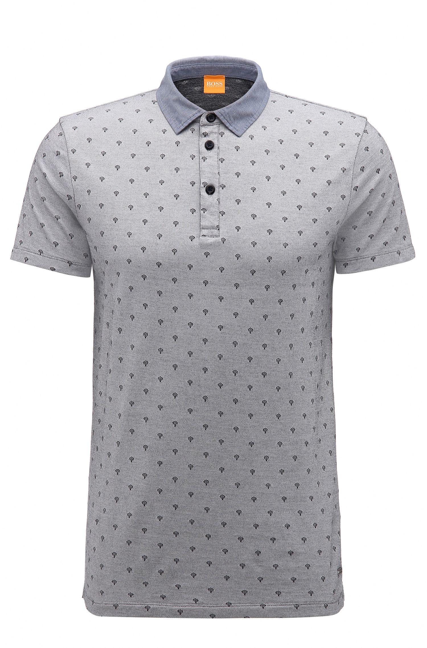 Regular-fit polo shirt in jacquard cotton