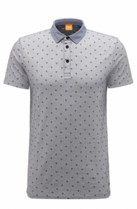 Regular-fit polo shirt in jacquard cotton, Grey