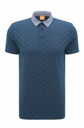 Regular-Fit Poloshirt aus Baumwoll-Jacquard, Dunkelblau