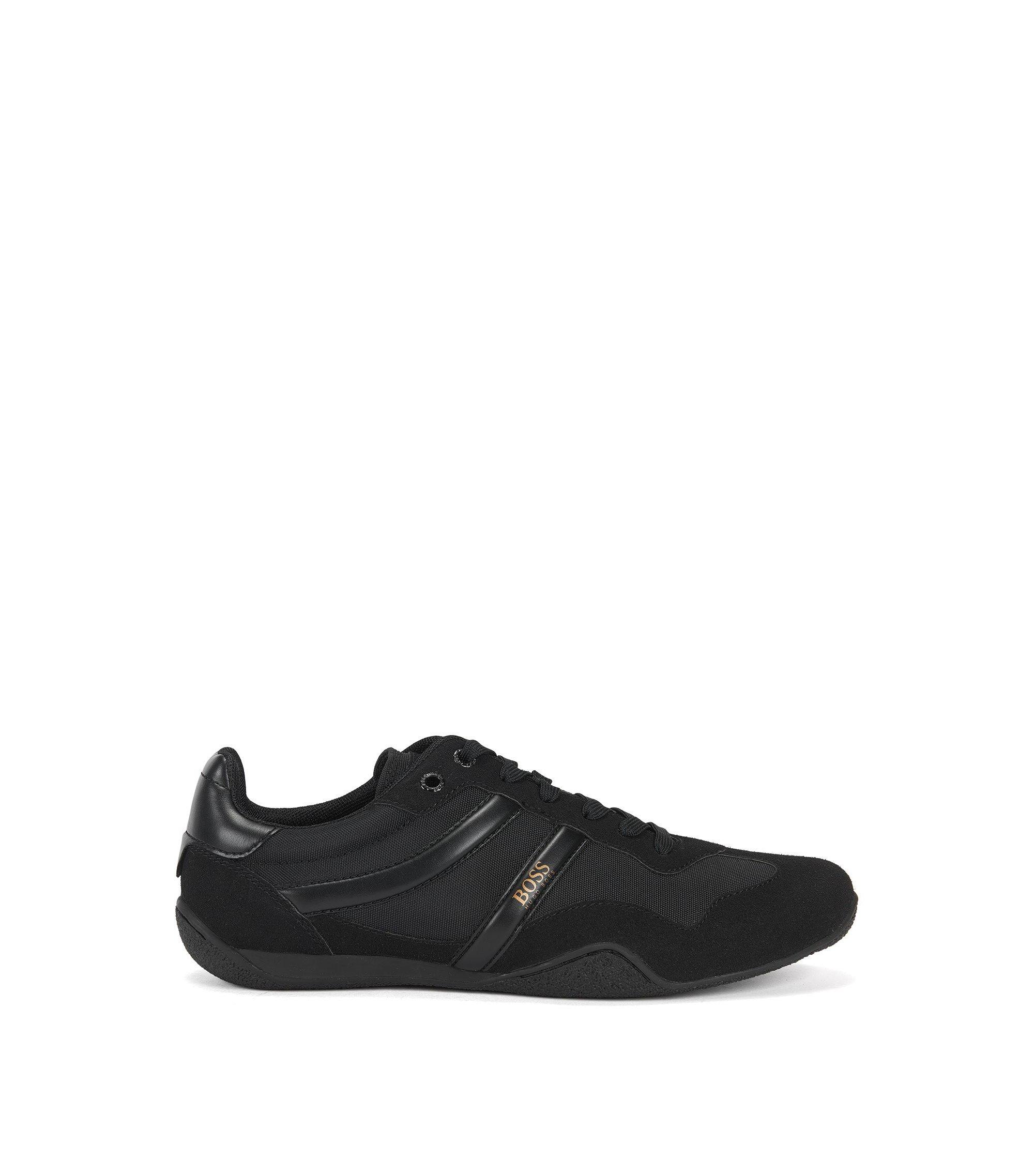 Sneakers aus Material-Mix mit leichter EVA-Mittelsohle, Schwarz