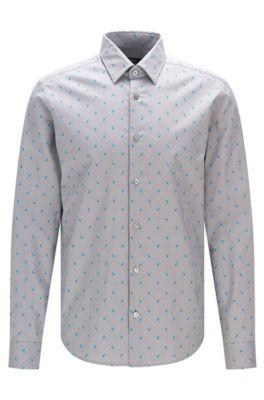 Camicia stile Oxford regular fit con stampa astratta, Grigio chiaro