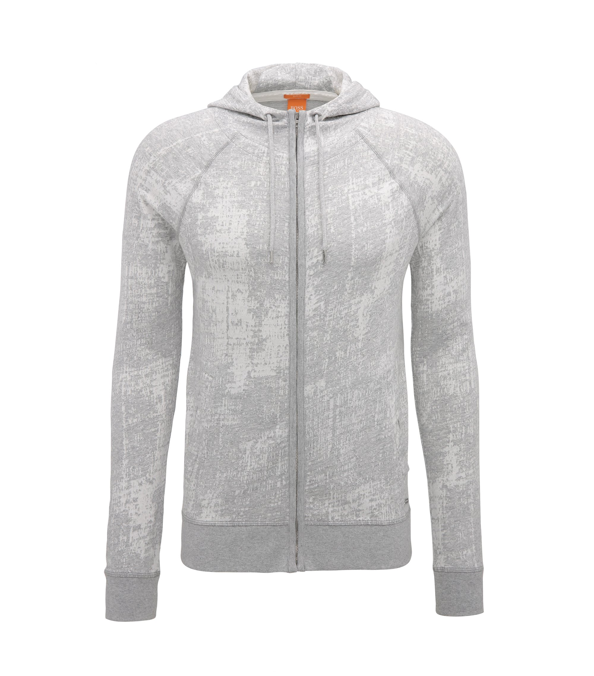 Sweat zippé Slim Fit en jacquard de coton, Gris chiné