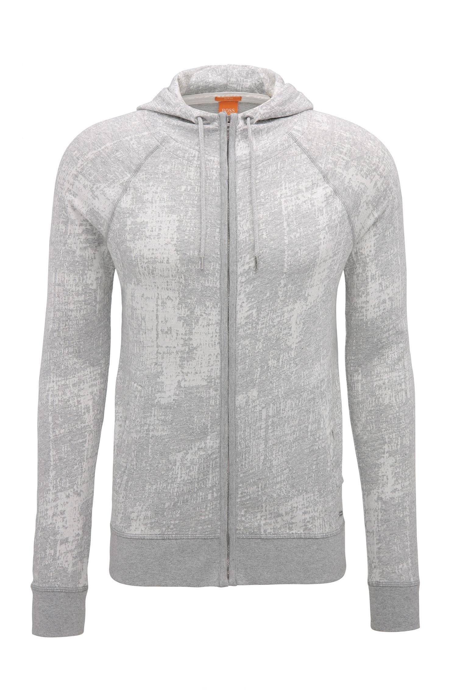 Slim-fit sweatshirt van katoenen jacquard met doorlopende ritssluiting