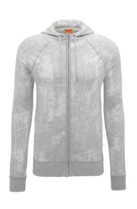 Slim-fit zip-through sweatshirt in cotton jacquard, Light Grey