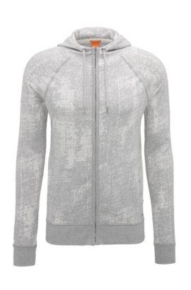 Slim-fit zip-through sweatshirt in cotton jacquard, Light Grey
