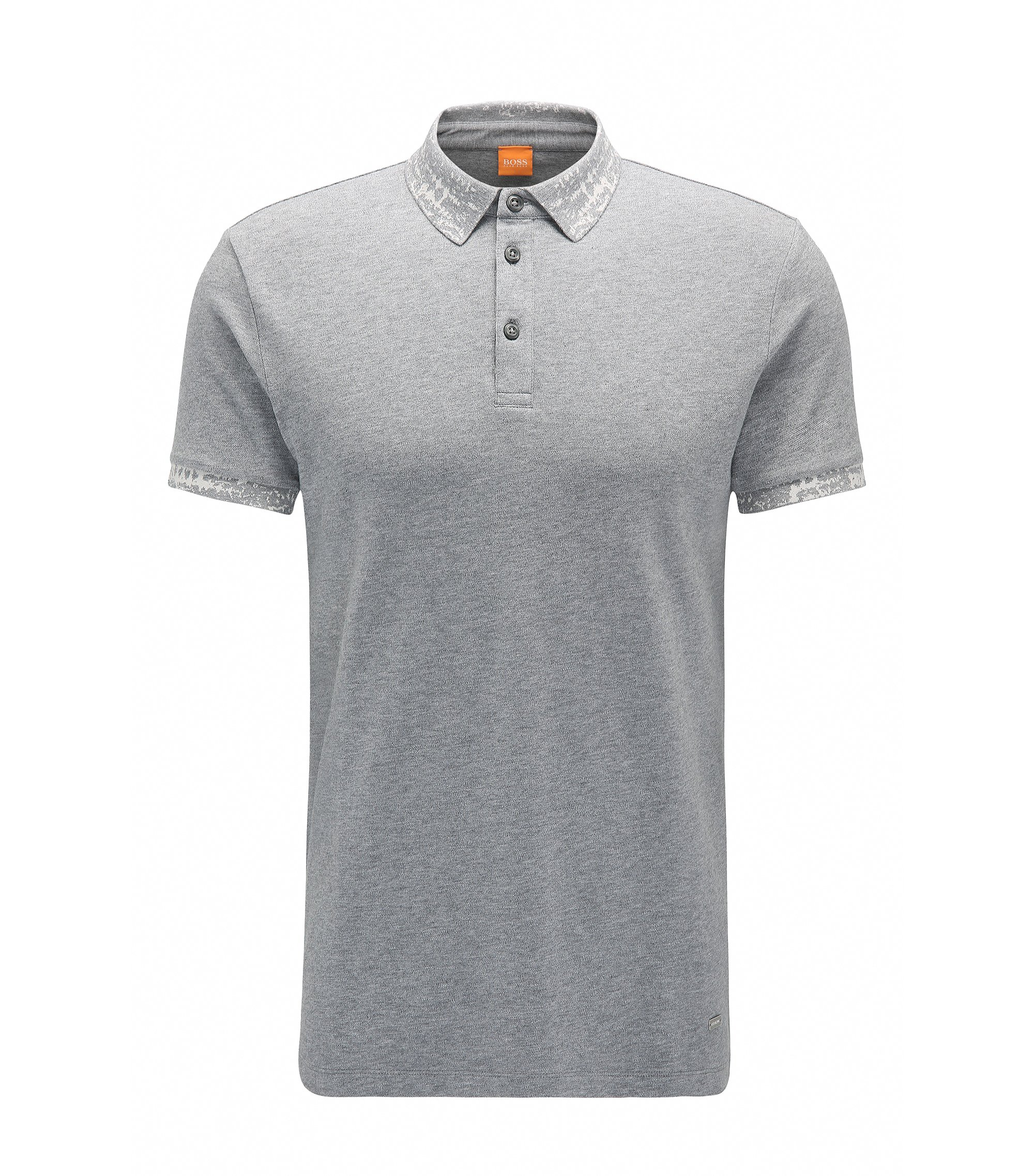 Regular-fit polo shirt in stretch cotton, Grey