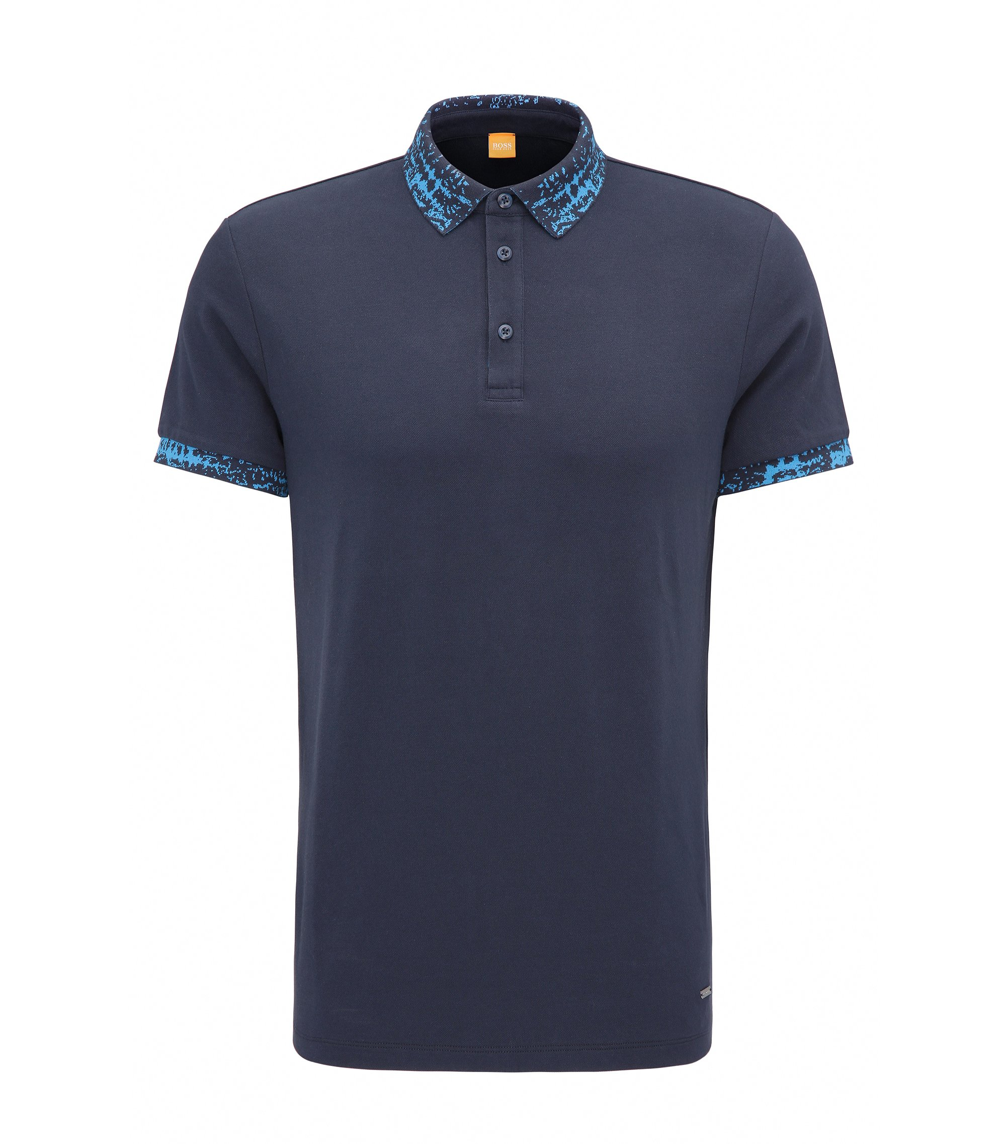 Regular-fit poloshirt van stretchkatoen, Donkerblauw
