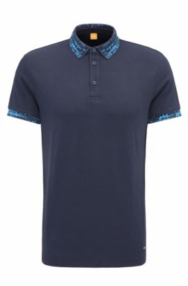 Polo Regular Fit en coton stretch, Bleu foncé