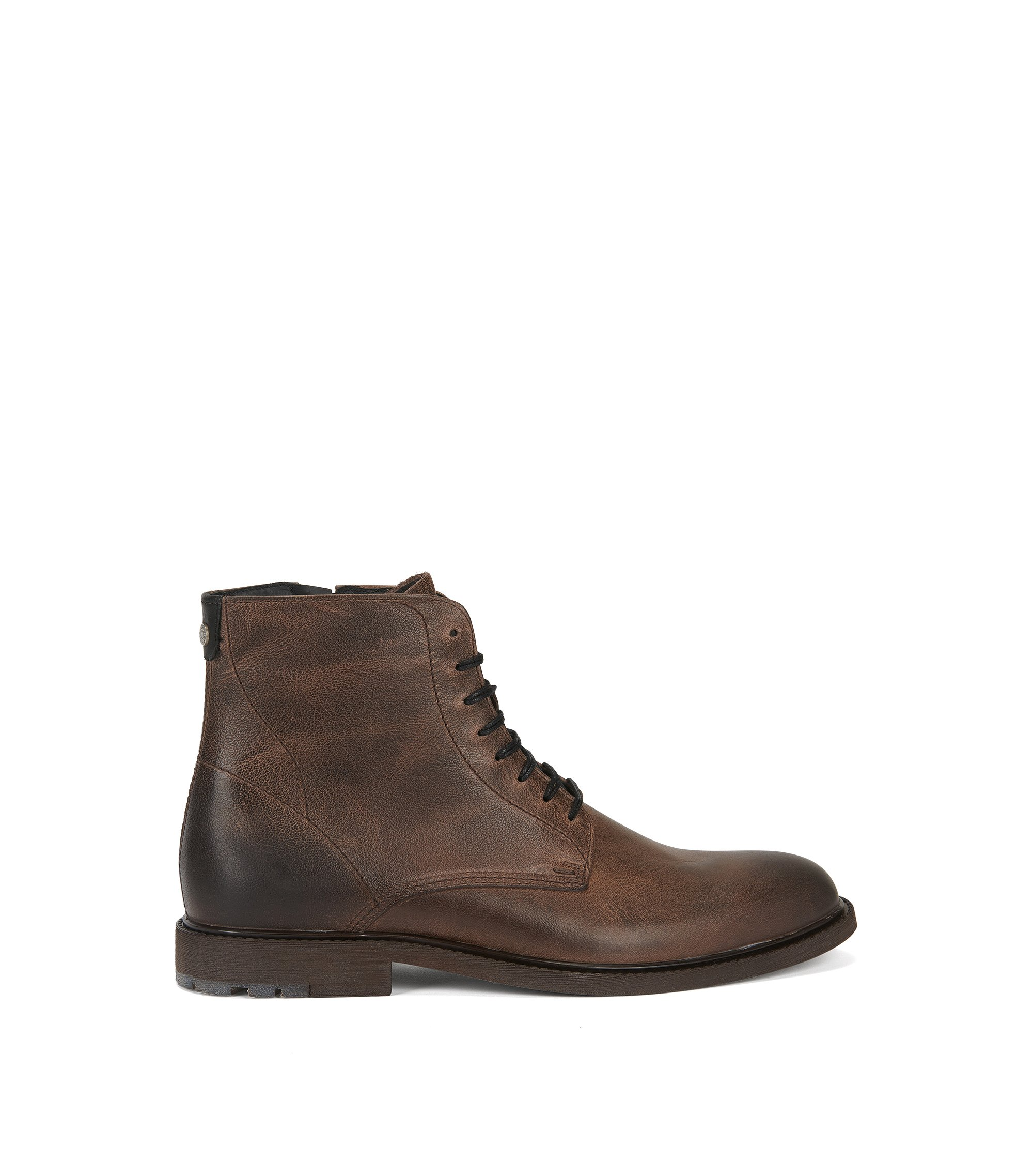 Lace-up half boots in washed leather, Brown